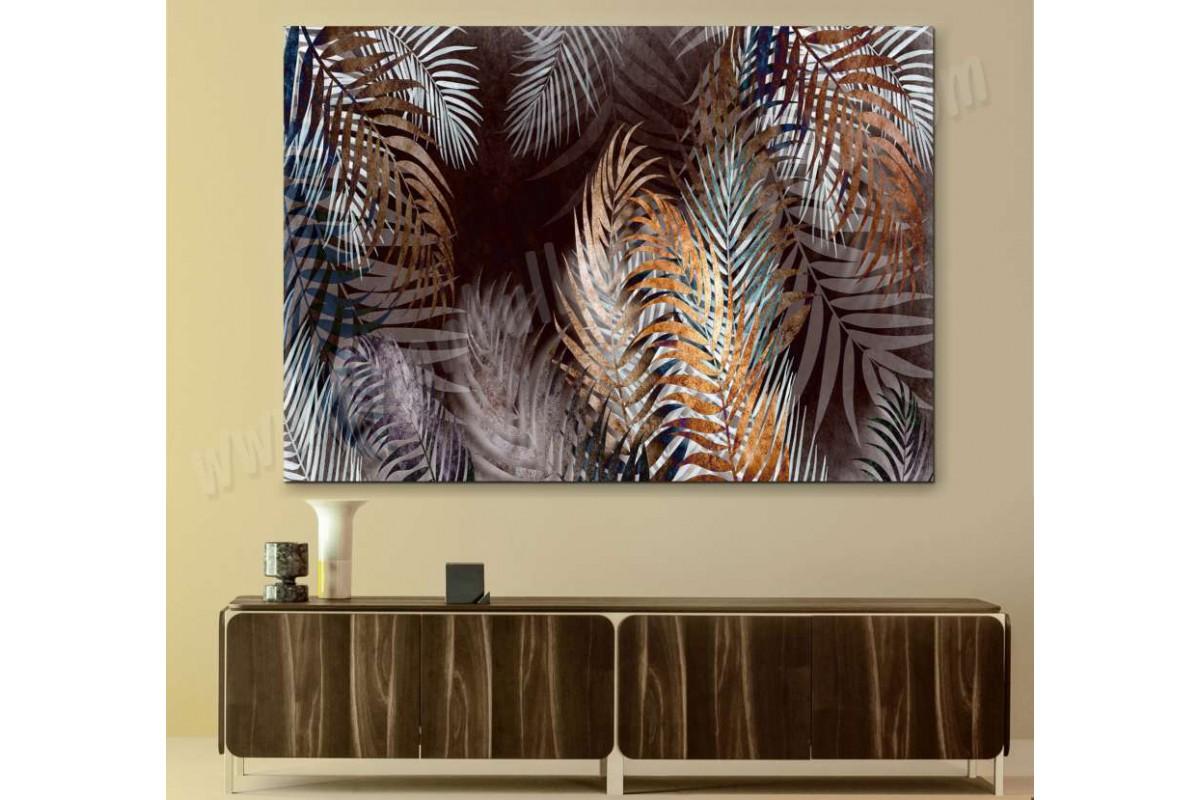 srdk12 - Kahverengi, Sarı ve Beyaz Yapraklar Dekoratif Kanvas Tablo