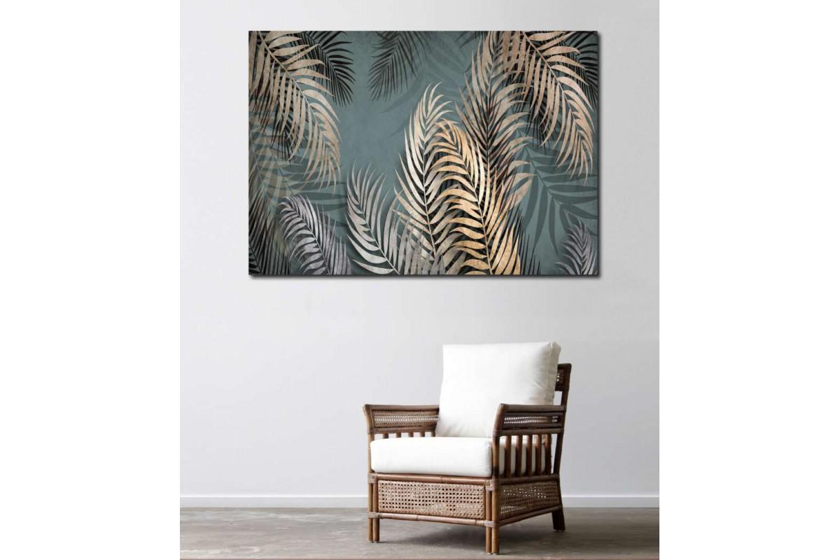 srdk13 - Sarı Yapraklar ve Tropikal Orman Desenli Kanvas Tablo