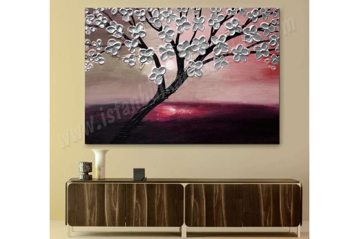 srdk14 - Gün Batımı ve Beyaz Çiçekli Ağaç Yağlı Boya Görünümlü Kanvas Tablo
