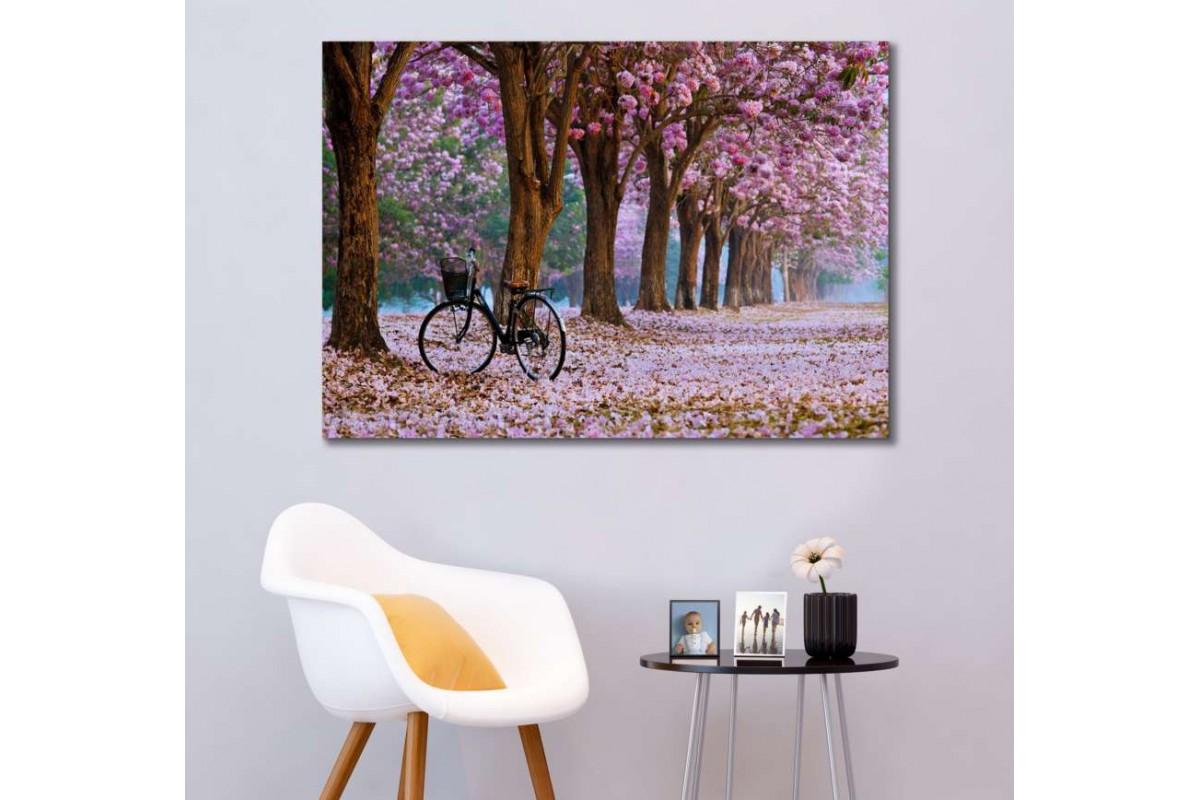 srdk15 - Pembe Çiçekli Ağaçlar ve Bisiklet Dekoratif Kanvas Tablo