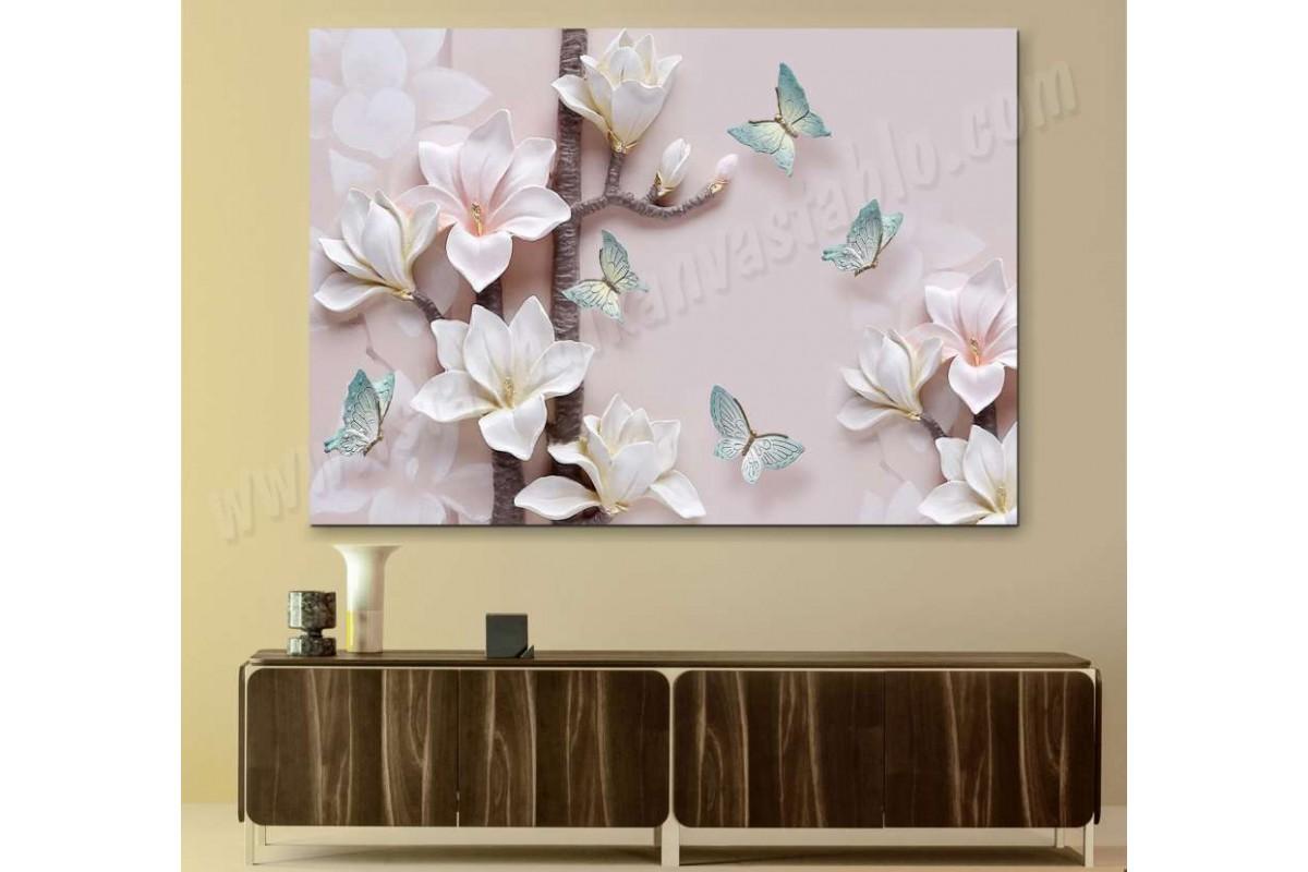 srdk17 - 3 Boyutlu Görünümlü Soyut Çiçekler ve Kelebekler Kanvas Tablo