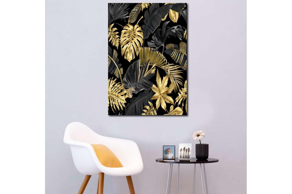 srdk2 - Tropikal Çiçekler Temalı Dekoratif Kanvas Tablo