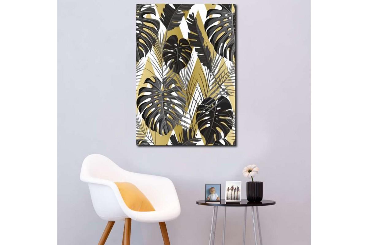srdk3 - Beyaz Zemin Üzerine Siyah Yapraklar Dekoratif Tropik Desenli Kanvas Tablo