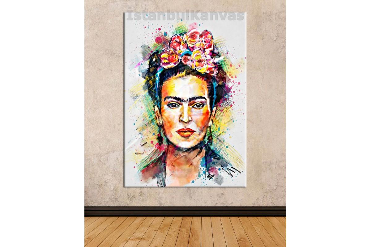 Srfk1 - Çiçekli Kadın Ressam Frida Kahlo Dekoratif Soyut Portre Kanvas Tablo
