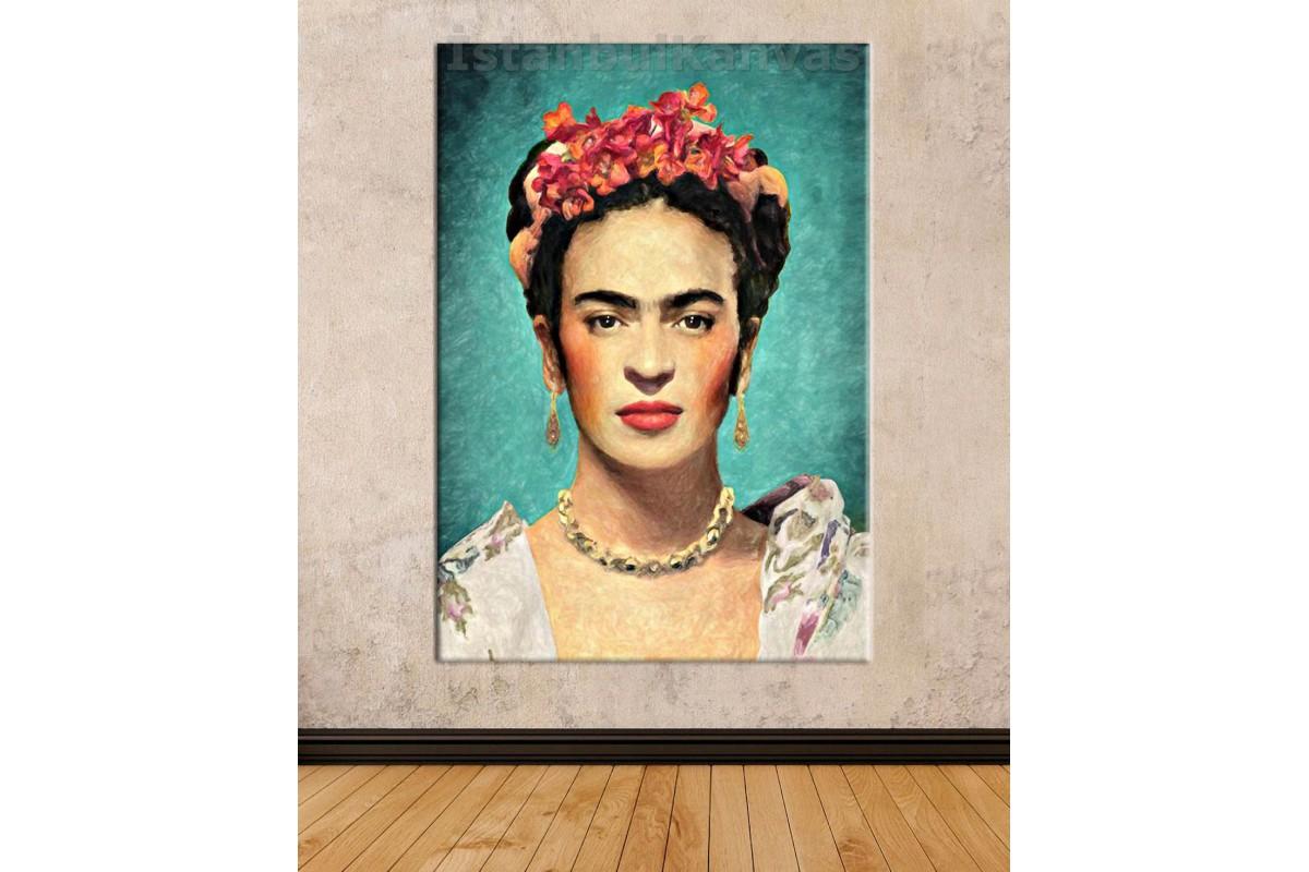 Srfk2 - Çiçekli Kadın Ressam Frida Kahlo Dekoratif Yağlı Boya Görünüm Portre Kanvas Tablo