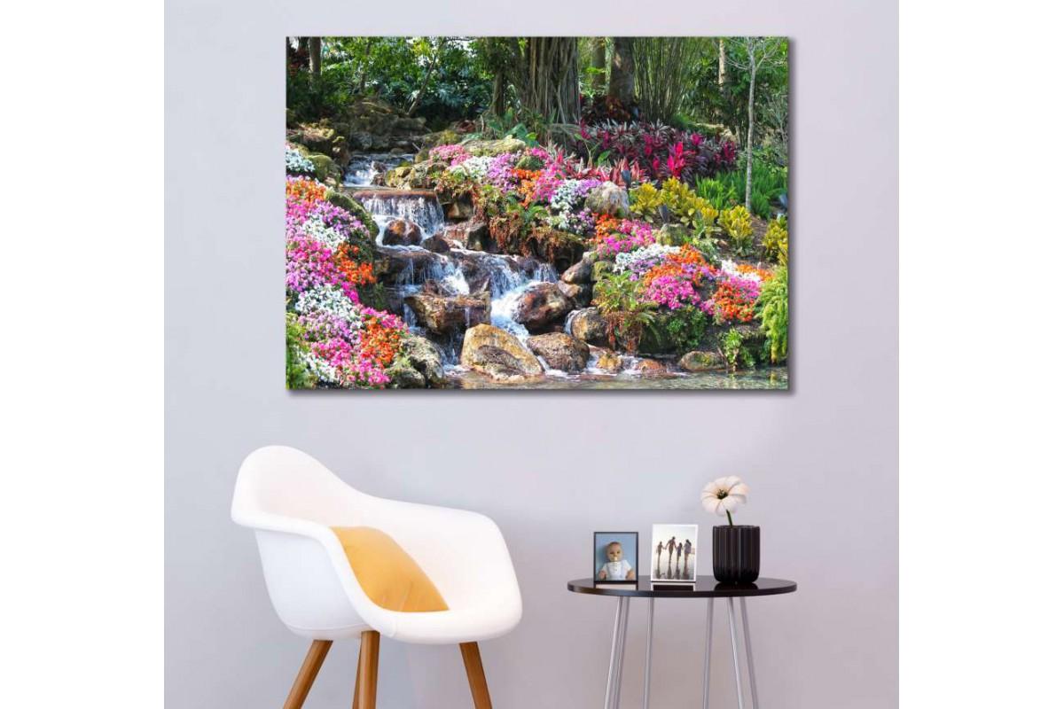 srfw10 - Renk Renk Çiçekler ve Orman ve Şelale Dekoratif Kanvas Duvar Tabloları