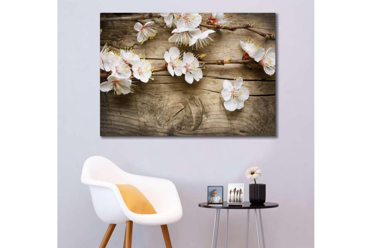 srfw4 - Beyaz Çiçekler ve Ahşap Zemin Görünümlü Kanvas Tablo