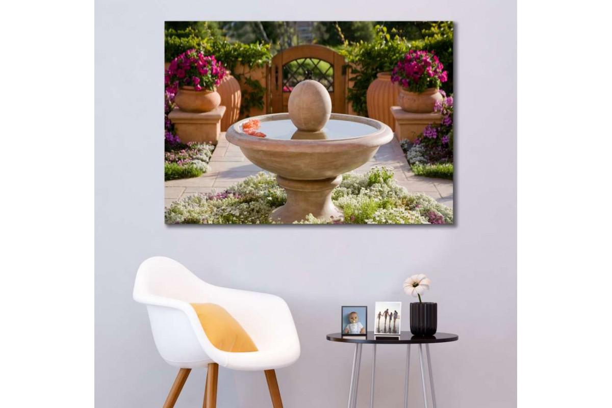 srfw9 - Rengarenk Çiçekli Bahçe ve Mermer Çeşme Dekoratif Kanvas Duvar Tabloları