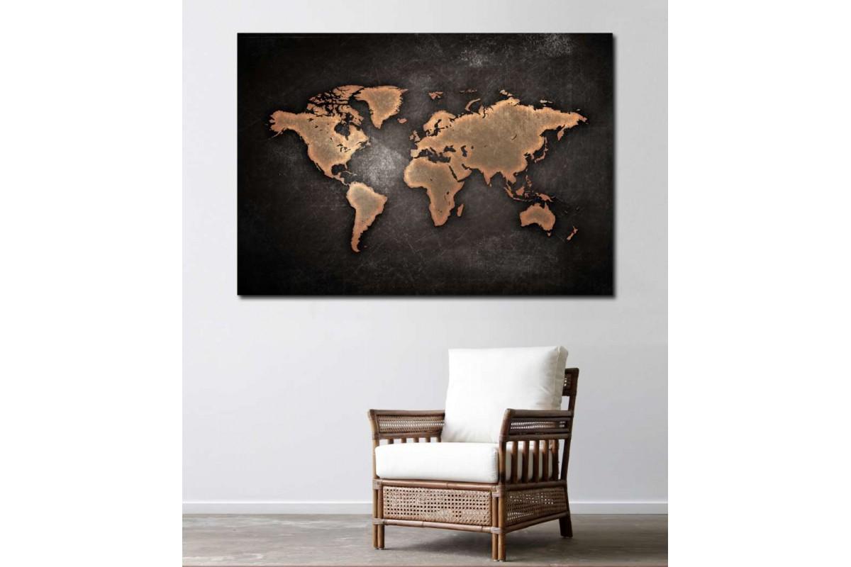 srh10 - Yıpranmış Görünümlü Kahverengi Dünya Haritası Kanvas Tablo