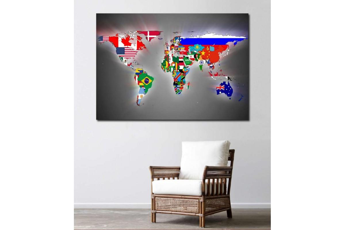 srh11 - Ülkeler ve Bayrakları Dünya Haritası Kanvas Tablo