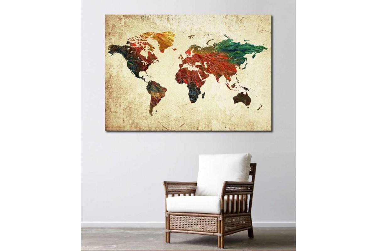 srh12 - Yağlı Boya Görünümlü Dünya Haritası Kanvas Tablo