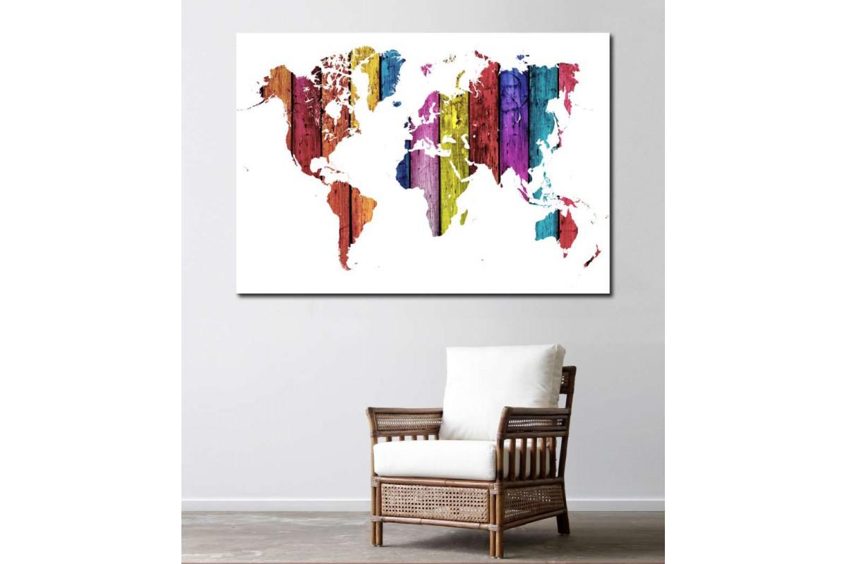 srh13 - Ahşap Görünümlü Renkli Dünya Haritası Kanvas Tablo