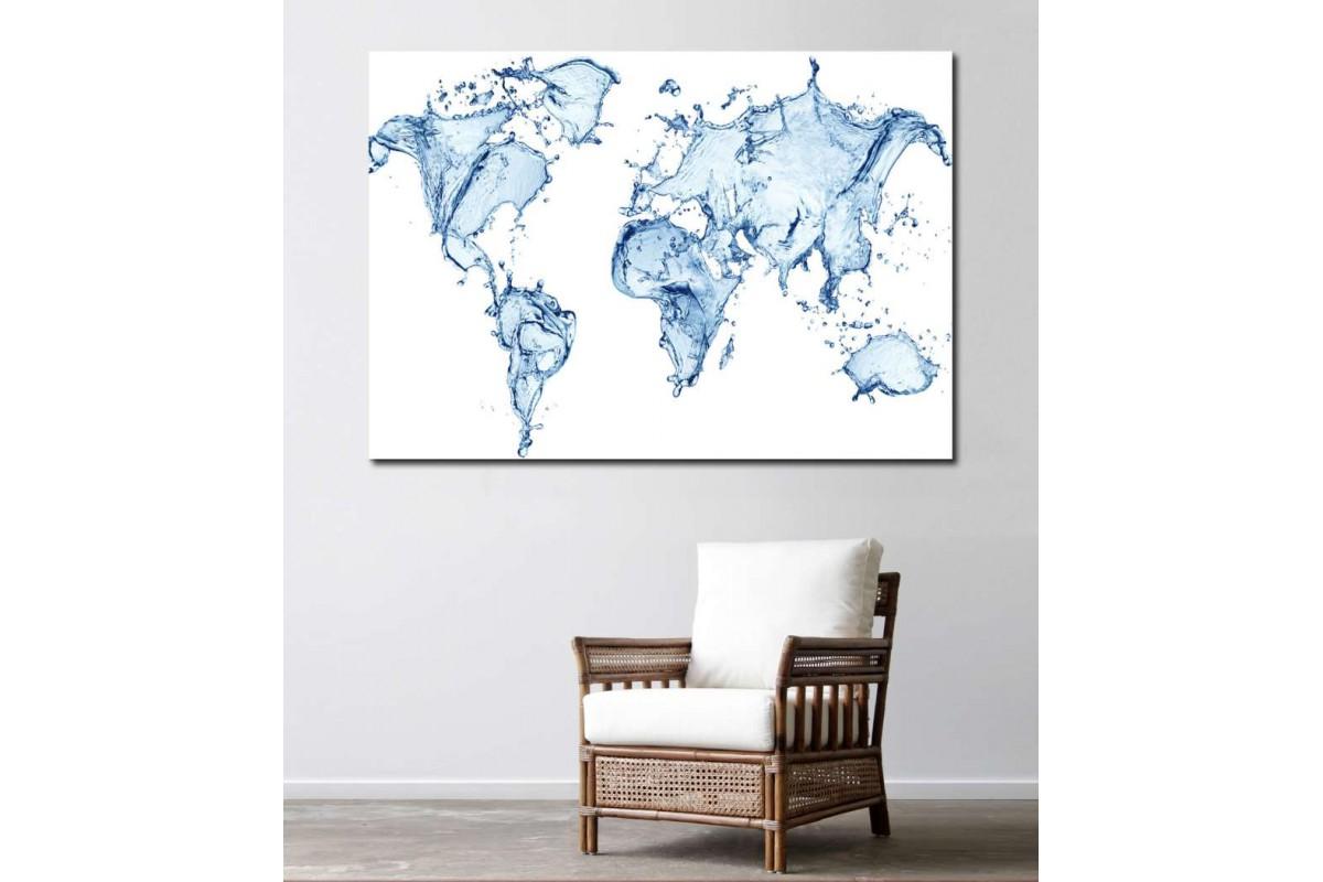 srh14 - Su Damlaları ile Dünya Haritası Kanvas Tablo