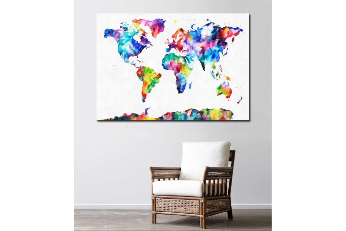 srh15 - Akrilik Boya Görünümlü Dünya Haritası Kanvas Tablo