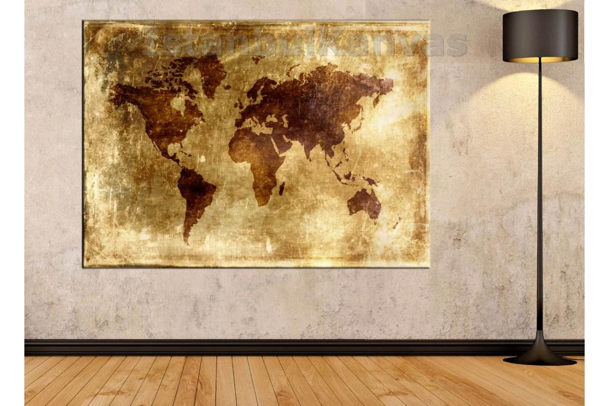 Srh16 - Eskitme Yaldız Görünümlü Dünya Haritası Kanvas Tablo