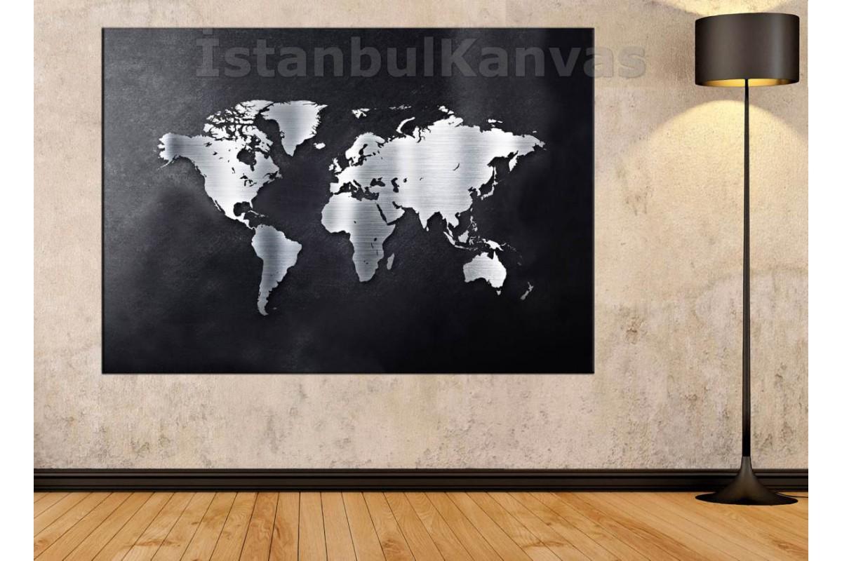 Srh17 - Metalik Görünümlü Dünya Haritası Kanvas Tablo