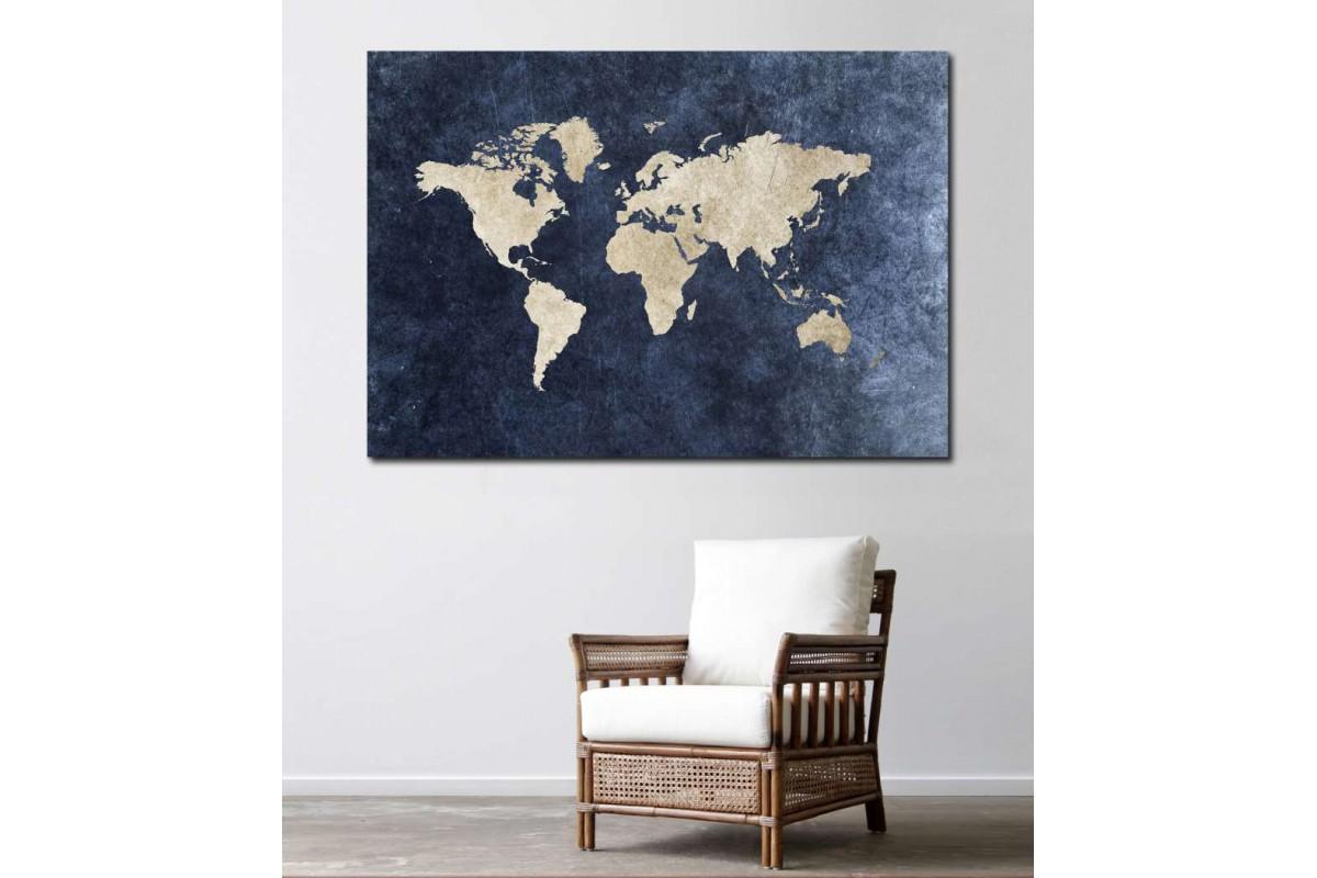 srh18 - Jean Kumaş Görünümlü Dünya Haritası Kanvas Tablo