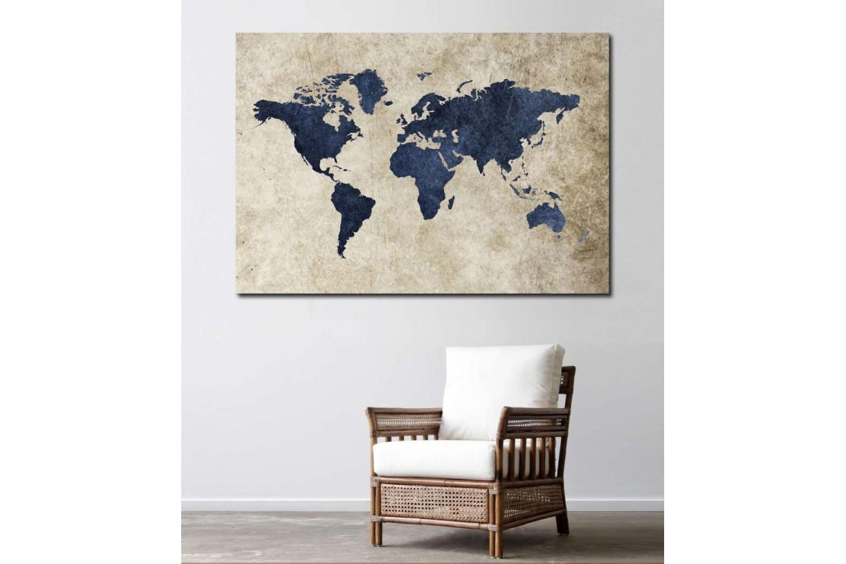srh18b - Jean Kumaş Görünümlü Dünya Haritası Kanvas Tablo