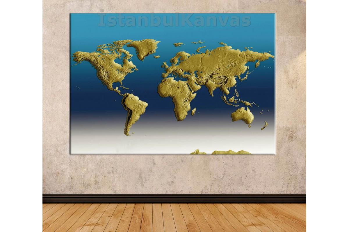 Srh19 - 3 Boyutlu Görünümlü Fiziki Dünya Haritası Kanvas Tablo