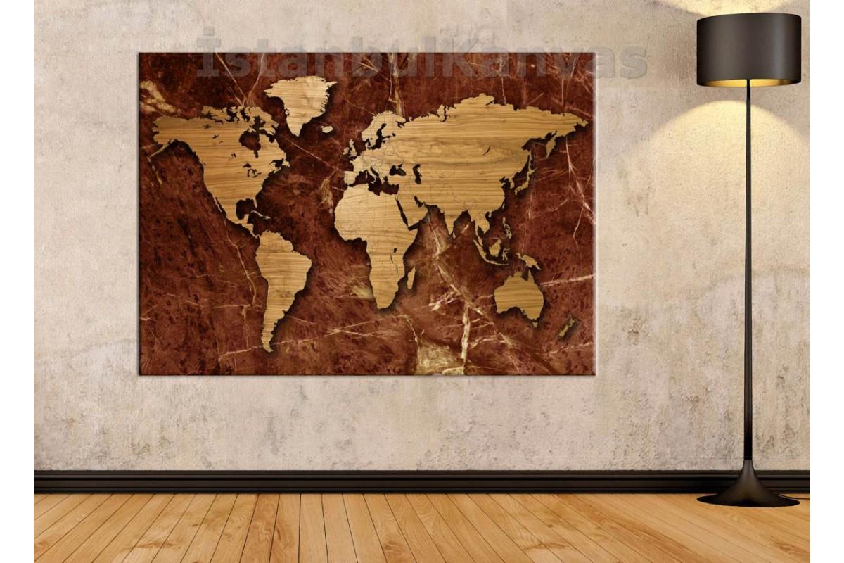 Srh2 - Özel Tasarım Mermer Ve Ahşap Görünümlü Dünya Haritası Kanvas Tablo