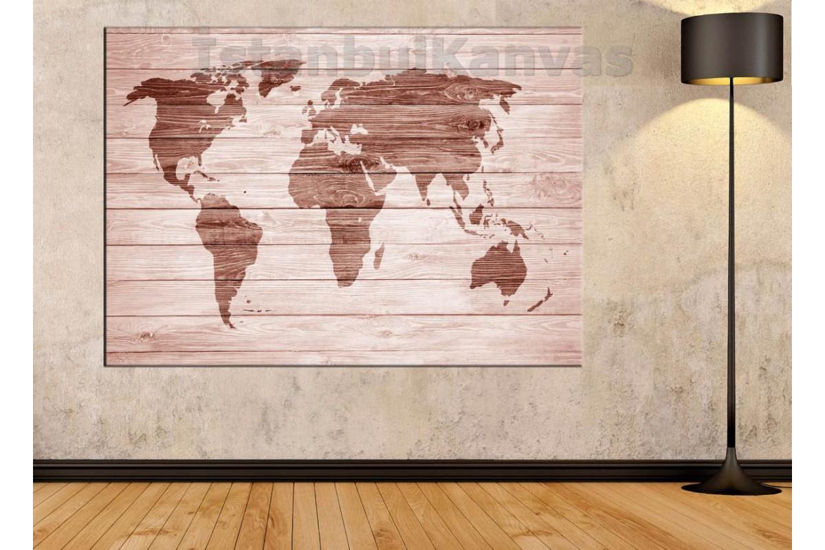 Srh20 - Ahşap Yakma Görünümlü Özel Tasarım Dünya Haritası Kanvas Tablo