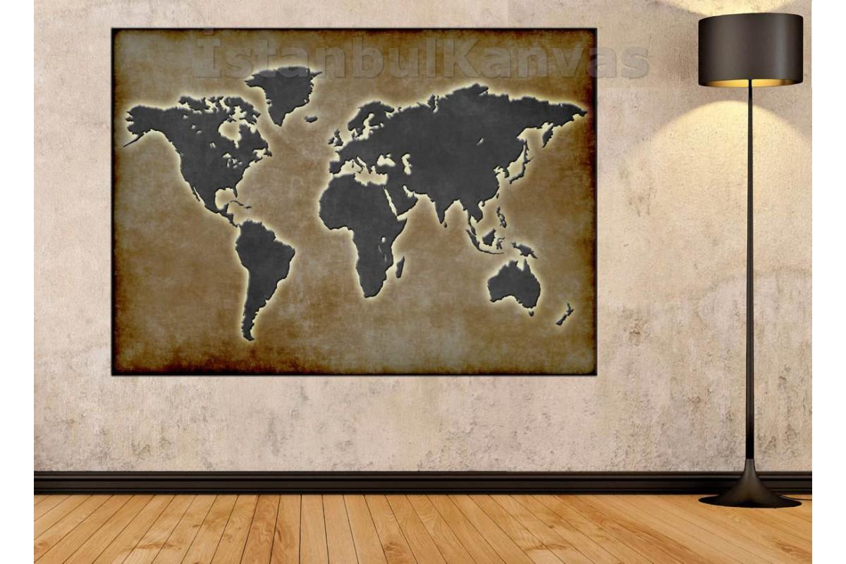 Srh21 - Özel Tasarım Eskitme Görünümlü Dünya Haritası Kanvas Tablo