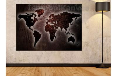 Srh22 - Metalik Görünümlü Özel Tasarım Dünya Haritası Kanvas Tablo