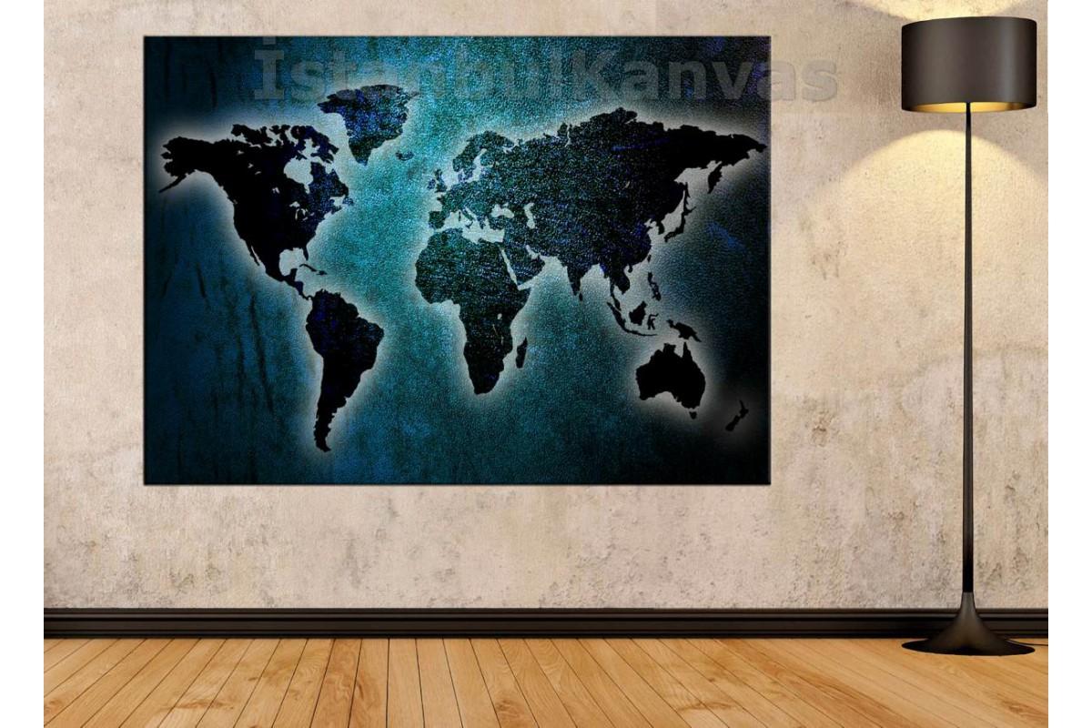 Srh23 - Metalik Görünümlü Turkuaz Özel Tasarım Dünya Haritası Kanvas Tablo