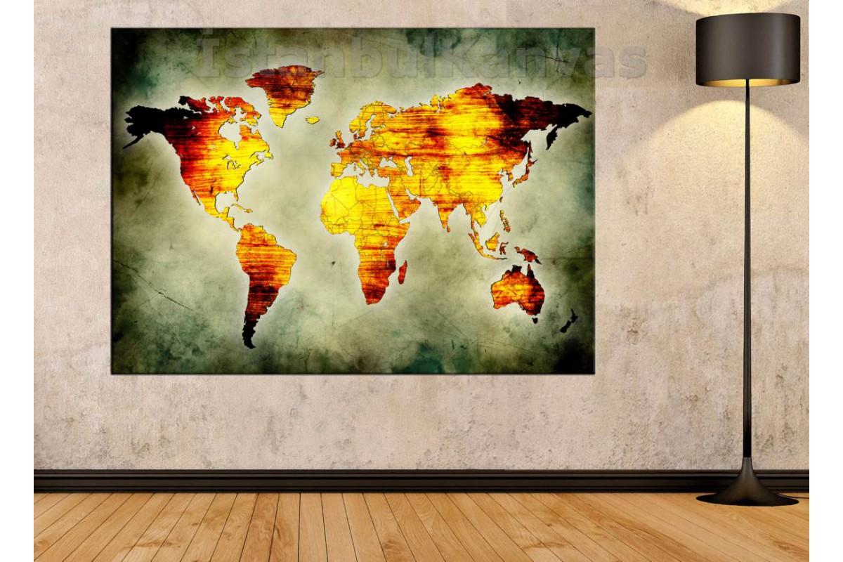 Srh24 - Eskitme Görünümlü Özel Tasarım Soyut Dünya Haritası Kanvas Tablo -70x100 Cm