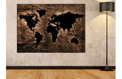 Srh25 - Özel Tasarım Kumaş Zemin Görünümlü Dünya Haritası Kanvas Tablo