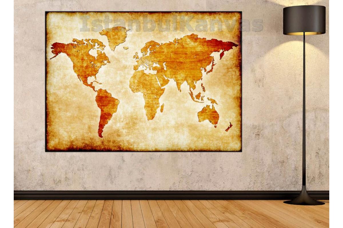 Srh26 - Özel Tasarım Eskitme Görünüm Dünya Haritası Kanvas Tablo