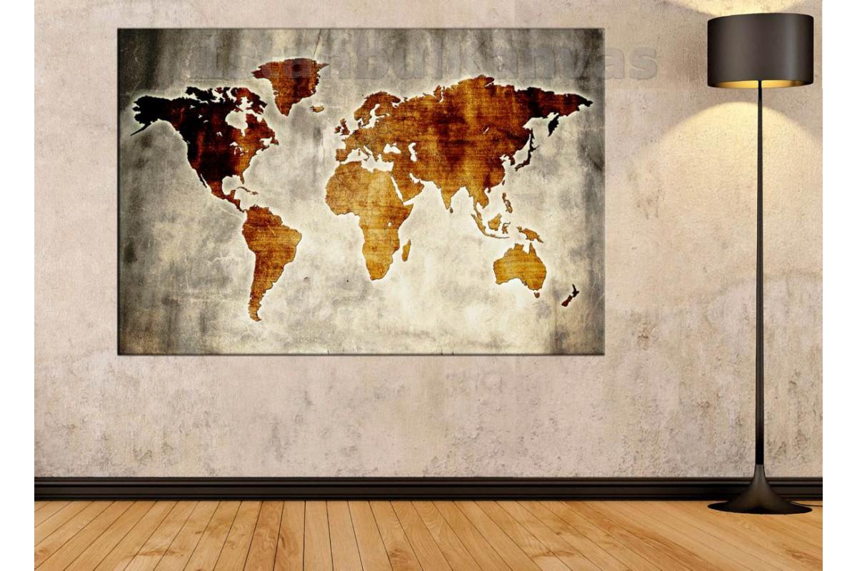 Srh27 - Özel Tasarım Eskitme Görünüm Dünya Haritası Kanvas Tablo