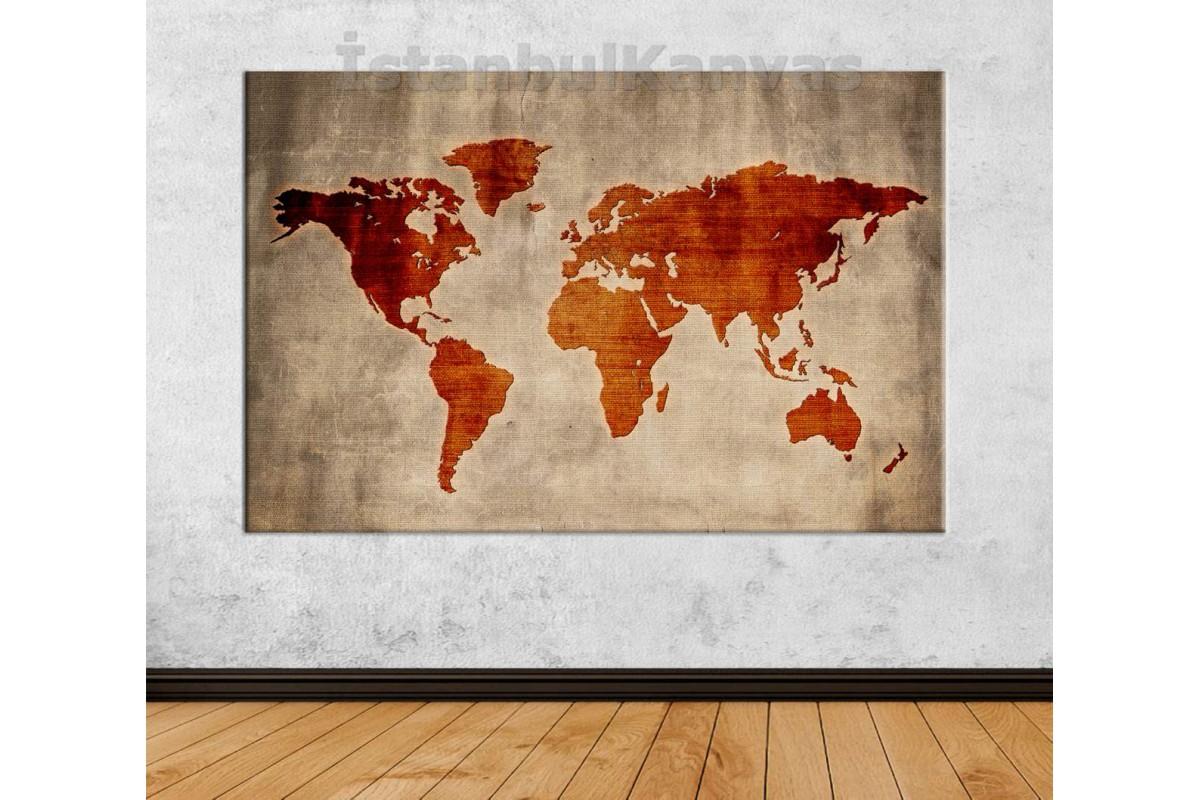 Srh28 - Özel Tasarım Dokuma Kumaş Görünümlü Dünya Haritası Kanvas Tablo