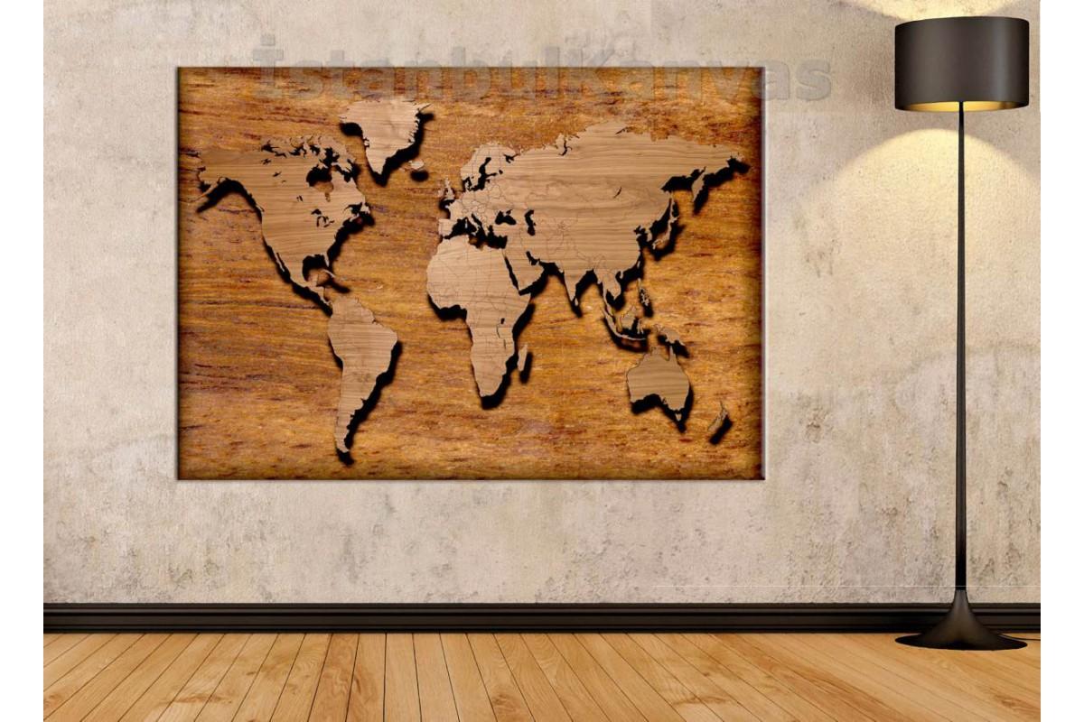 Srh3 - Özel Tasarım Ahşap Görünümlü Dünya Haritası Kanvas Tablo