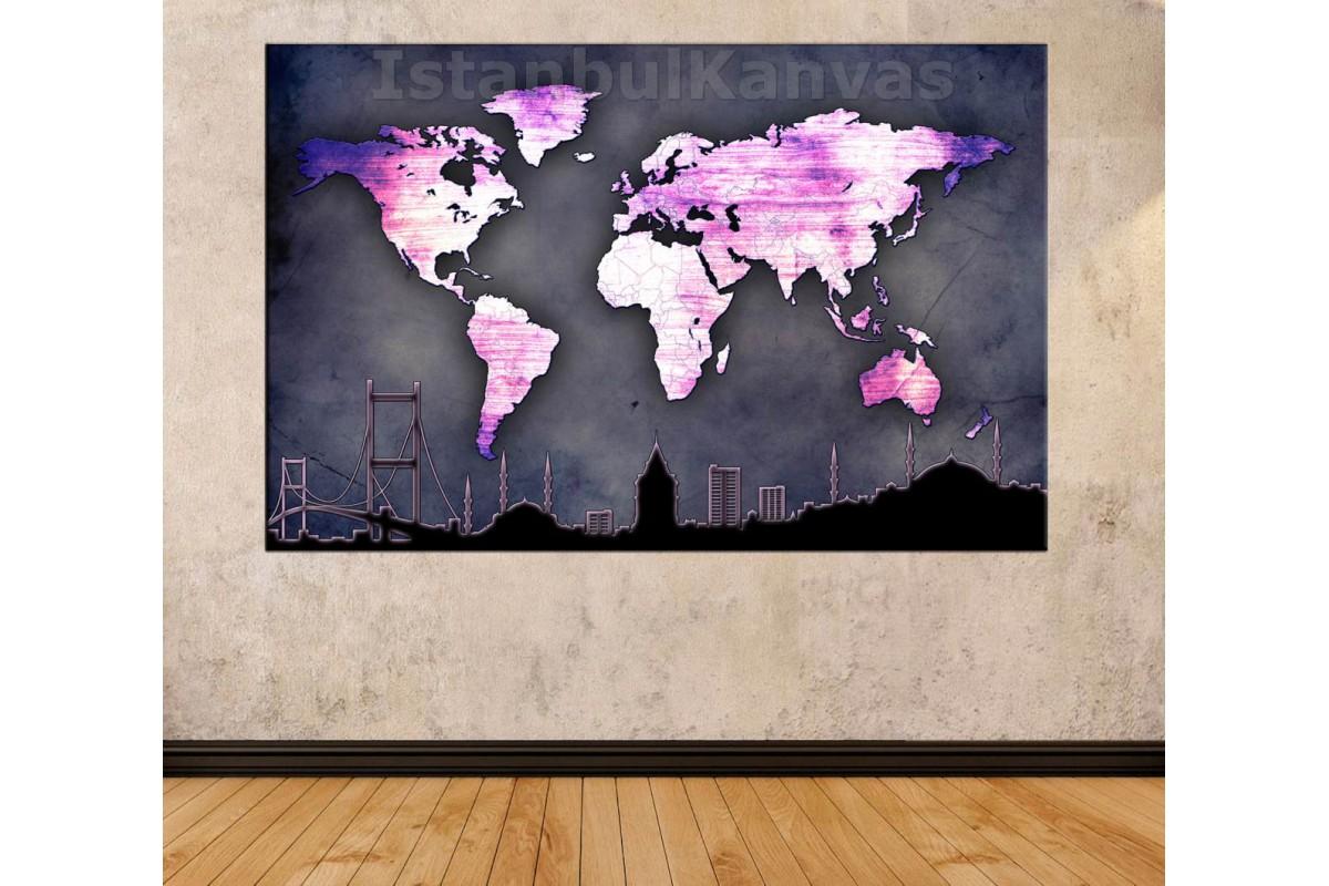 Srh34 - İstanbul Silueti Ve Dünya Haritası Özel Tasarım Kanvas Tablo