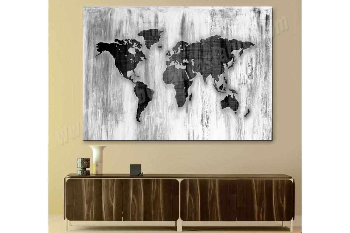 srh36 - Özel Tasarım Eskimiş Ahşap Görünümlü Dünya Haritası Kanvas Tablo
