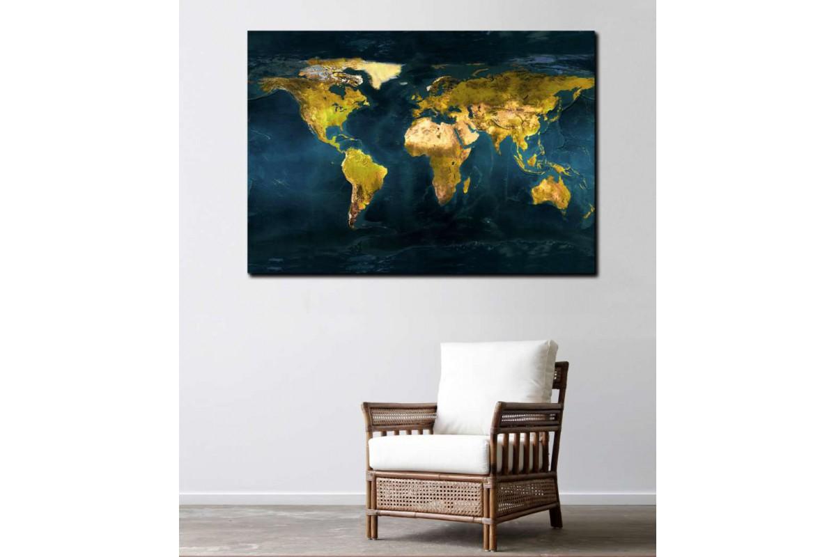 srh38 - Fiziki Dünya Haritası Kanvas Tablo