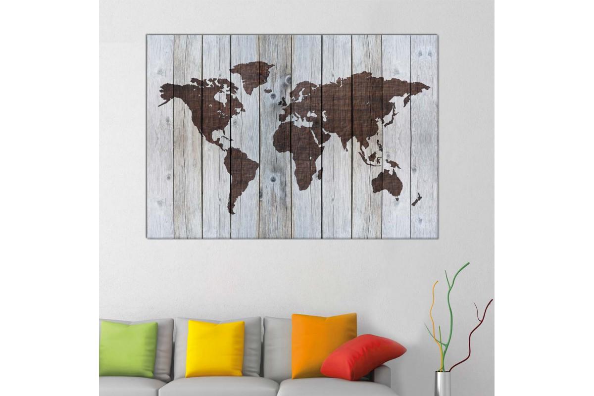 Srh39 - Ahşap Zemin Görünümlü Özel Tasarım Dünya Haritası Kanvas Tablo