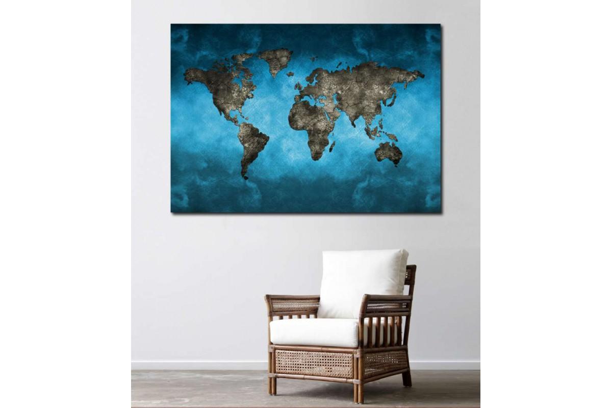 srh4 -  Turkuaz ve Taş Görünümlü Dünya Haritası Kanvas Tablo