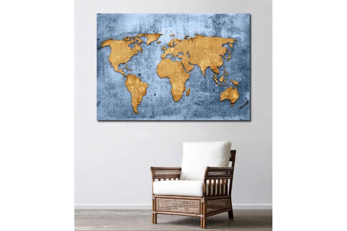 srh6 - Yıpranmış Görünümlü Dünya Haritası Kanvas Tablo