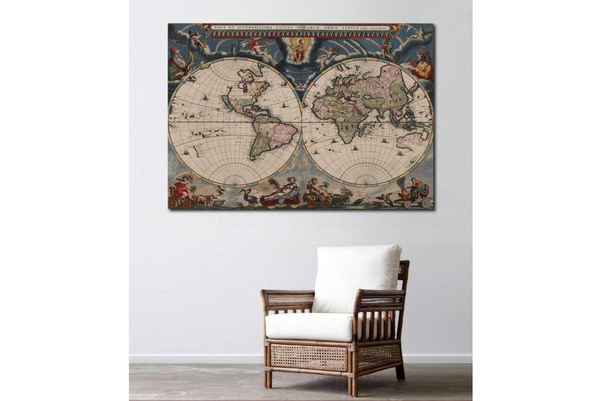 srh7 -  18. yüzyıl Küre Dünya Haritası Kanvas Tablo