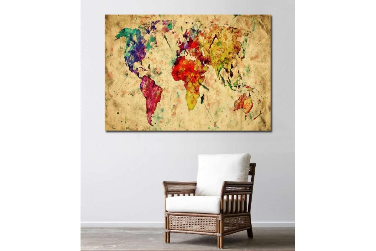 srh8 - Eskitme yağlı boya görünümlü Dünya Haritası Kanvas Tablo