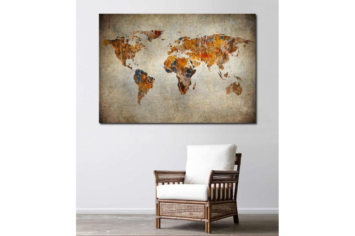 srh9 - Eskimiş Görünümlü Dünya Haritası Kanvas Tablo