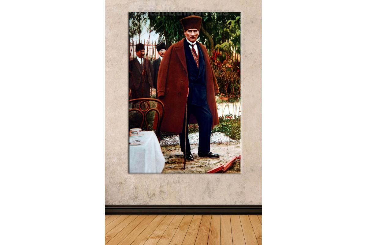 Srk03 - Renklendirme Atatürk Bordo Palto Ve Bastonlu Renkli Boy Fotoğrafı Kanvas Tablo