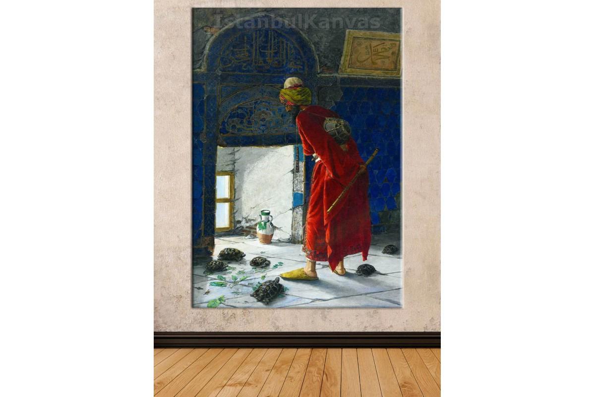 Srk06 - Kaplumbağa Terbiyecisi (Osman Hamdi Bey) Kanvas Tablo