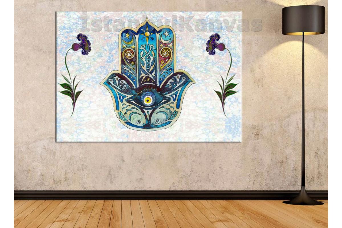 Srk111 - Fatma Ananın Eli, El Hamse, Hamse Eli Ve Ebru Sanatı Kanvas Tablo