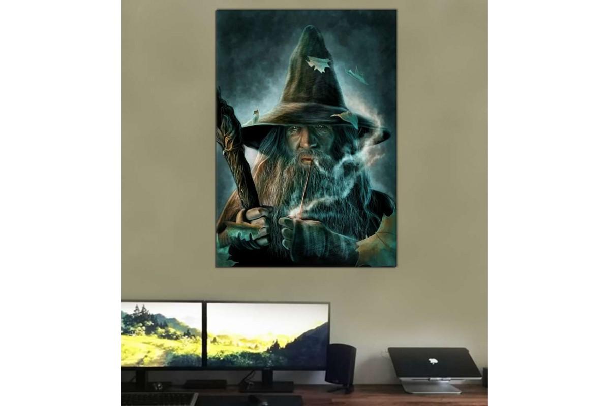 srk146 - Yüzüklerin Efendisi, Pipo İçen Gandalf Yağlı Boya görünüm kanvas tablo
