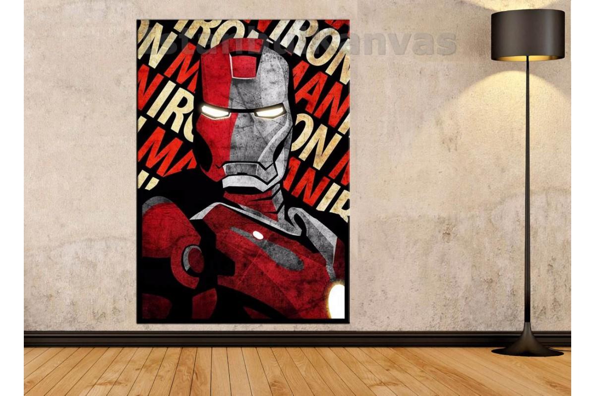 Srk14d - Iron Man Eskitme Görünümlü Kanvas Tablo