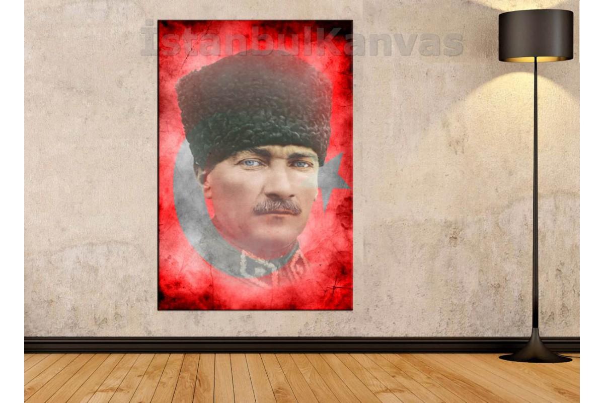 Skr1881b - Türk Bayrağı Ve Kalpaklı Mustafa Kemal Atatürk Özel Tasarım Kanvas Tablo