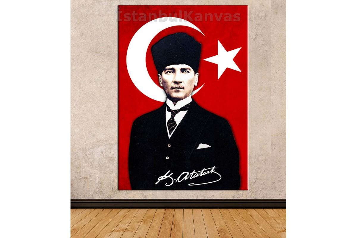 Skr1938 - Türk Bayrağı Ve Kalpaklı Mustafa Kemal Atatürk İmzalı Özel Tasarım Kanvas Tablo